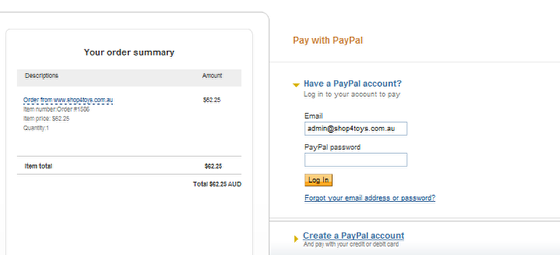This is the Paypal Screen you will be taken to