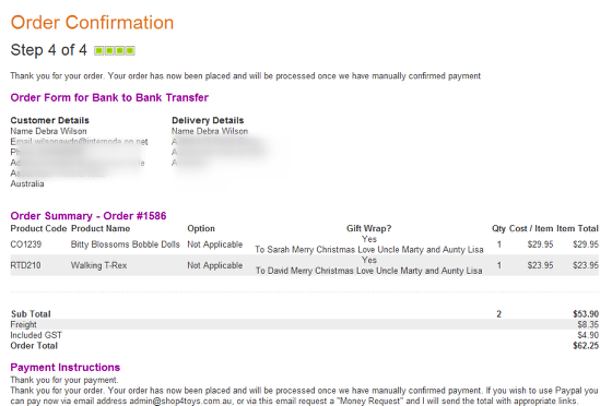 Order Confirmation that will show once payment method entered