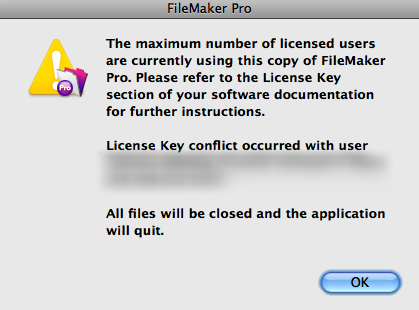Maximum number of licensed users are currently using this copy of FileMaker Pro.