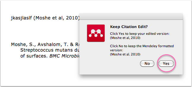 Yes, confirm your citation edit :)