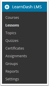 1. Go to LEARNDASH LMS > LESSONS