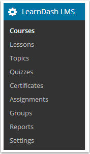 1. Go to LEARNDASH LMS > COURSES