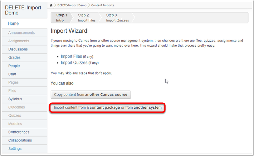 Content Imports with the Import Wizard