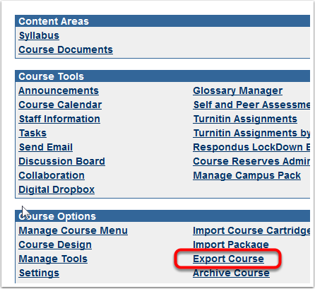 Control Panel> Export Course
