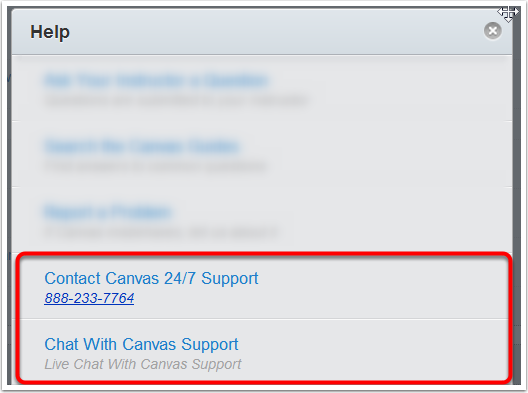 Step 2: Contact Instructure's Live 24-hour Phone and Chat support
