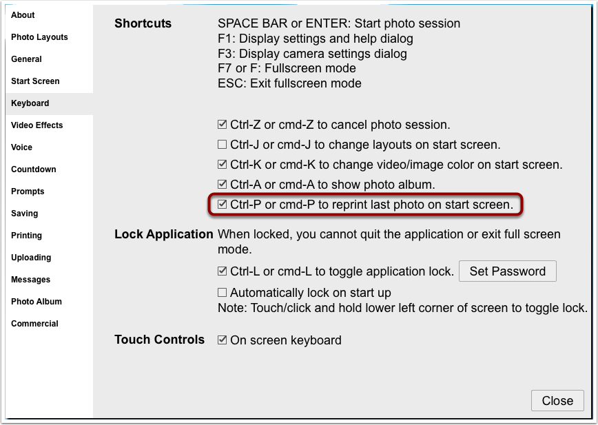 Enable reprint keyboard shortcut to print last photo