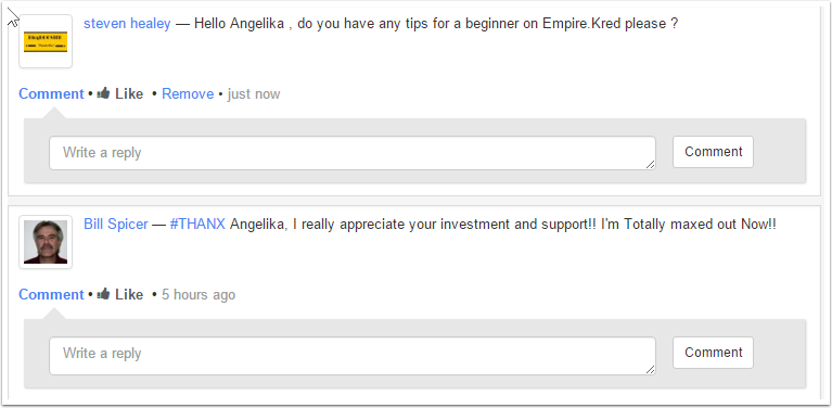 My message on Angelika's profile