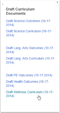 4.  Draft Curriculum documents for those content areas still in draft form are located on the right.