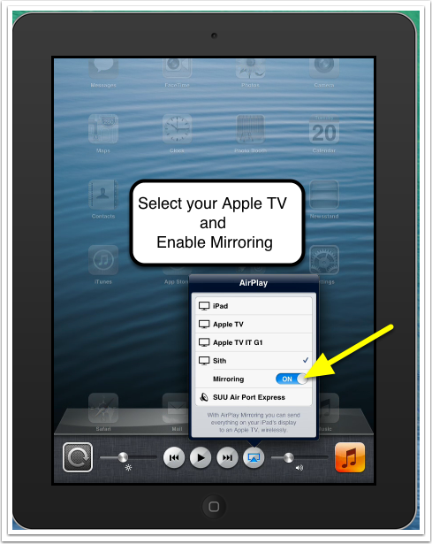 airplay mirroring from ipad iphone ios6 suu help center. Black Bedroom Furniture Sets. Home Design Ideas