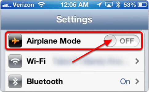 2. Tap the Airplane Mode toggle switch2
