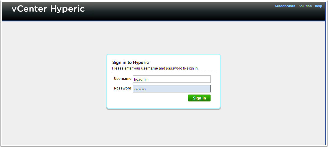 8) Login and enjoy hyperic