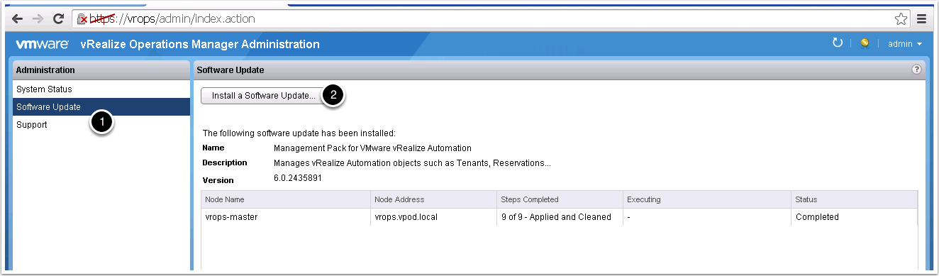 3. Log in to the admin interface http://vrops-ip/admin