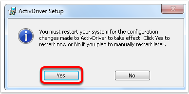 """1.10 Click """"Yes"""" to restart your computer NOW or finish other installations and restart afterwards."""