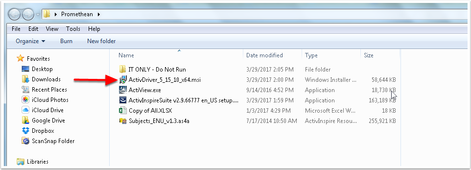 """1.2 Double-click the """"ActivDriver"""" msi file to run the installer."""
