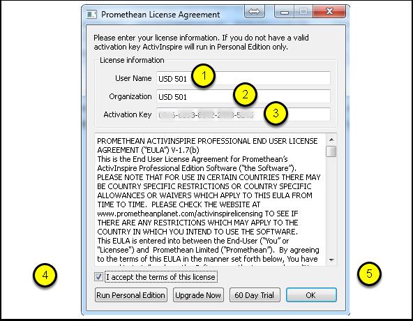 5.2 Entering License Information