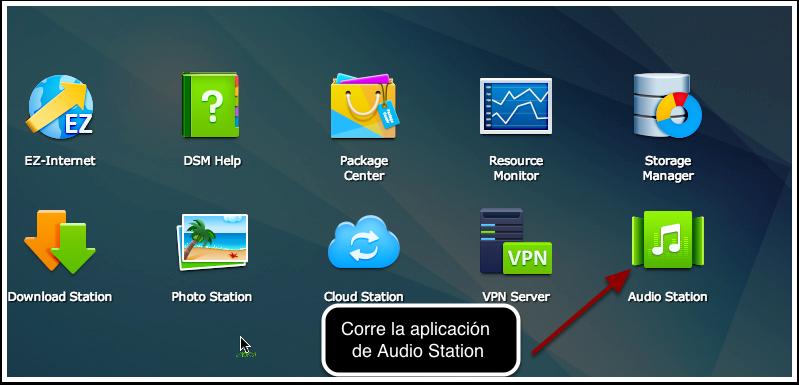 1. Seleciona y corre la aplicación de Audio Station