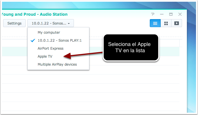 2. Seleciona el Apple TV de la lista de dispositivos disponibles