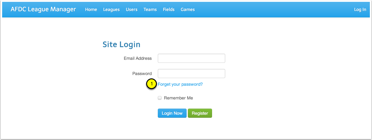 """Click the """"Forget your password?"""" link on the Login Page"""