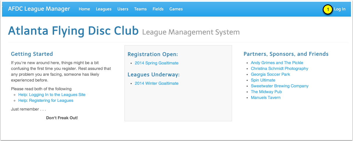 """Visit leagues.afdc.com and choose """"Log In"""""""