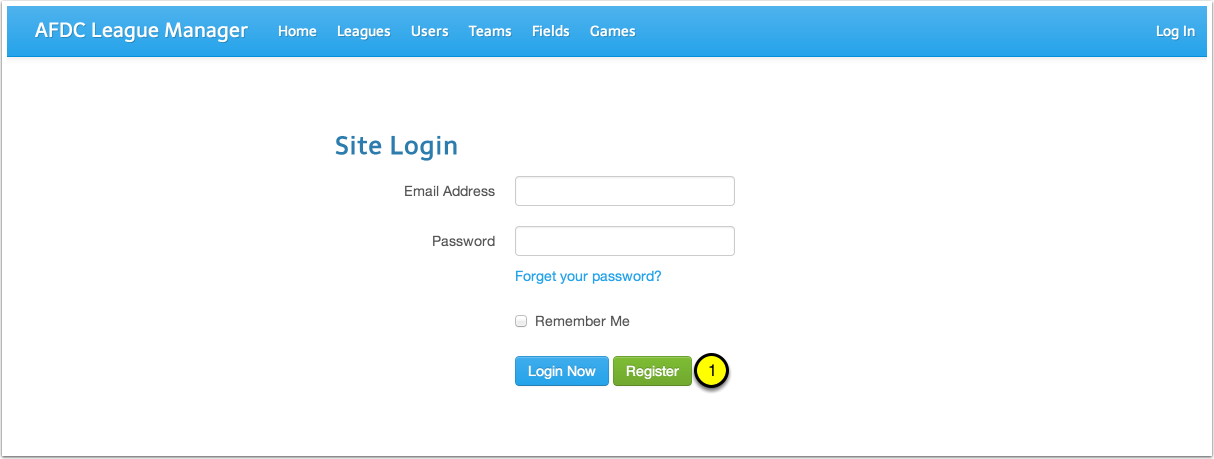 "Click the ""Register"" Button on the Login Page"