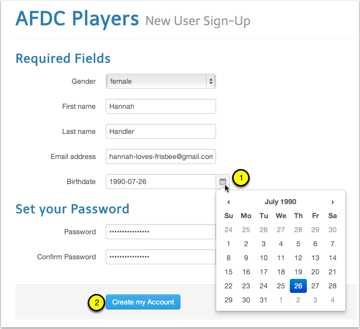 Fill out all of the required fields and choose a password