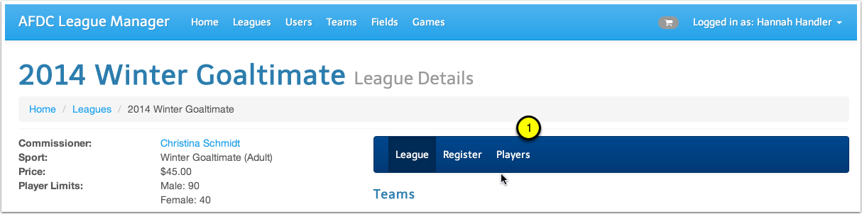 Visit the League's Player Page