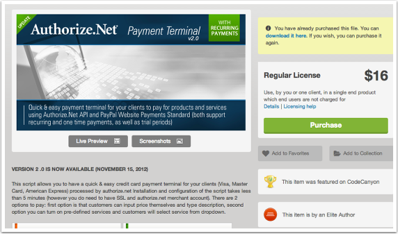 #1  Install your own payment gateway script on your server