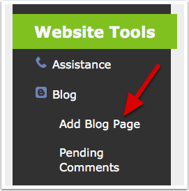 Create a new page of type 'blog'