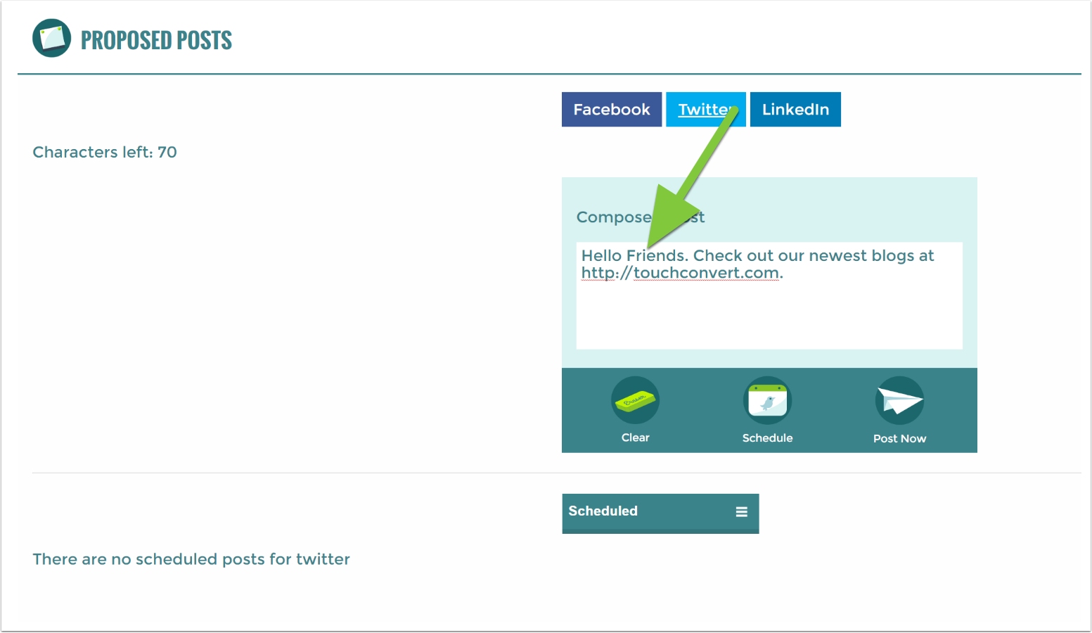 7. Modify the Facebook post for Twitter | TouchConvert