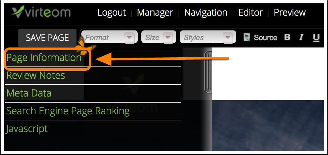 Page Information in Sidebar   Virteom
