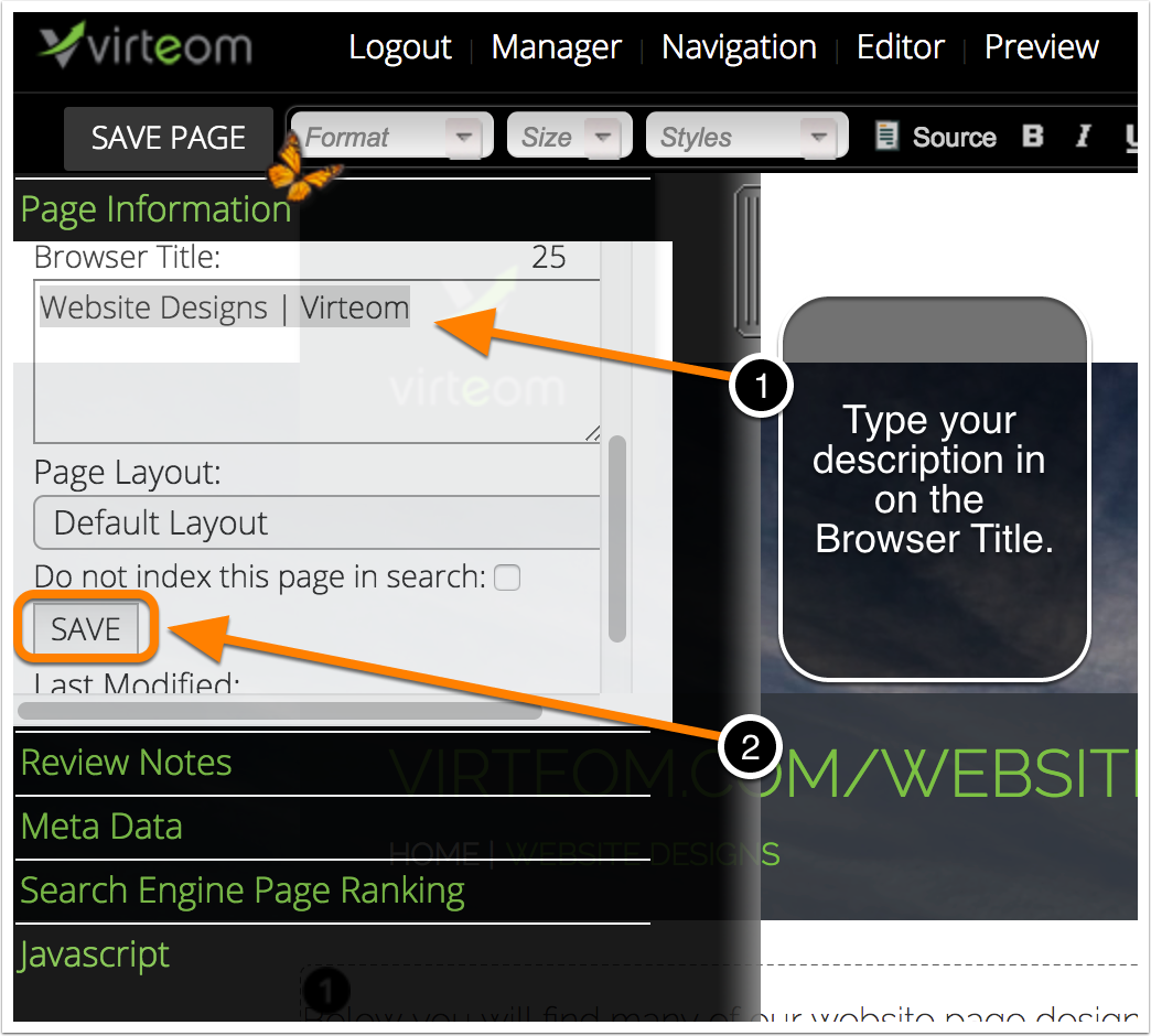 Browser Title in Virteom CMS