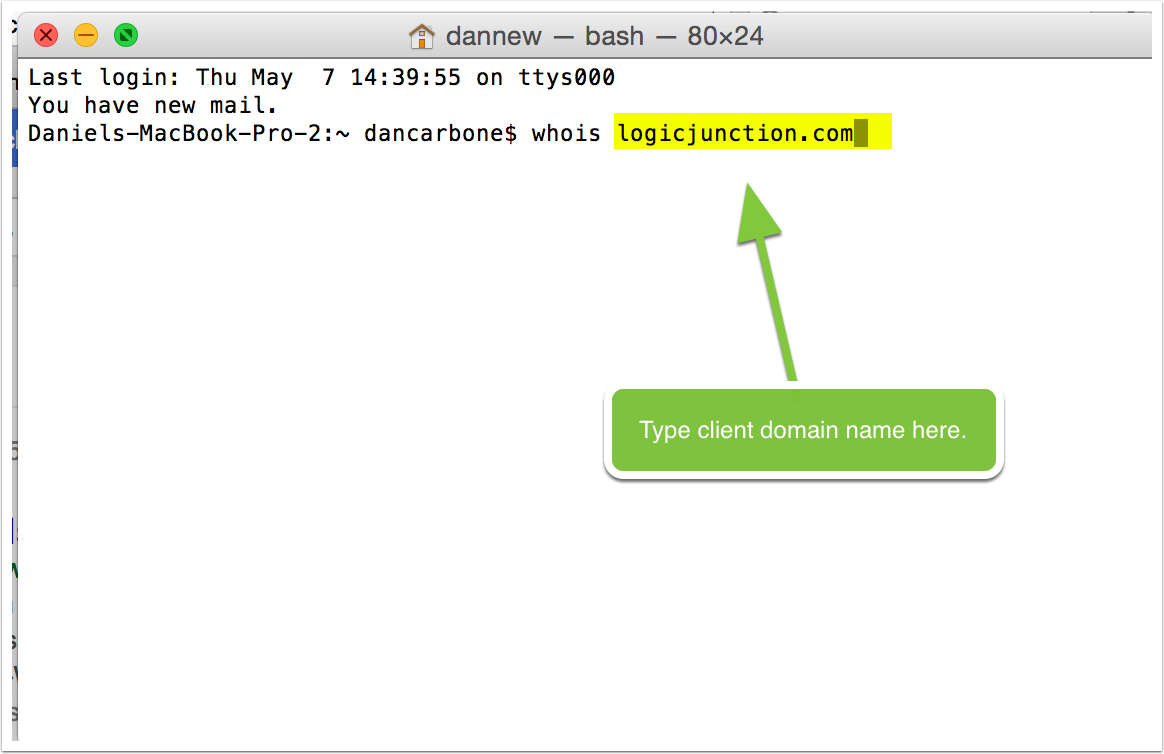 Open Terminal in OSX, you can do this by just typing 'Terminal' in the spotlight search box.