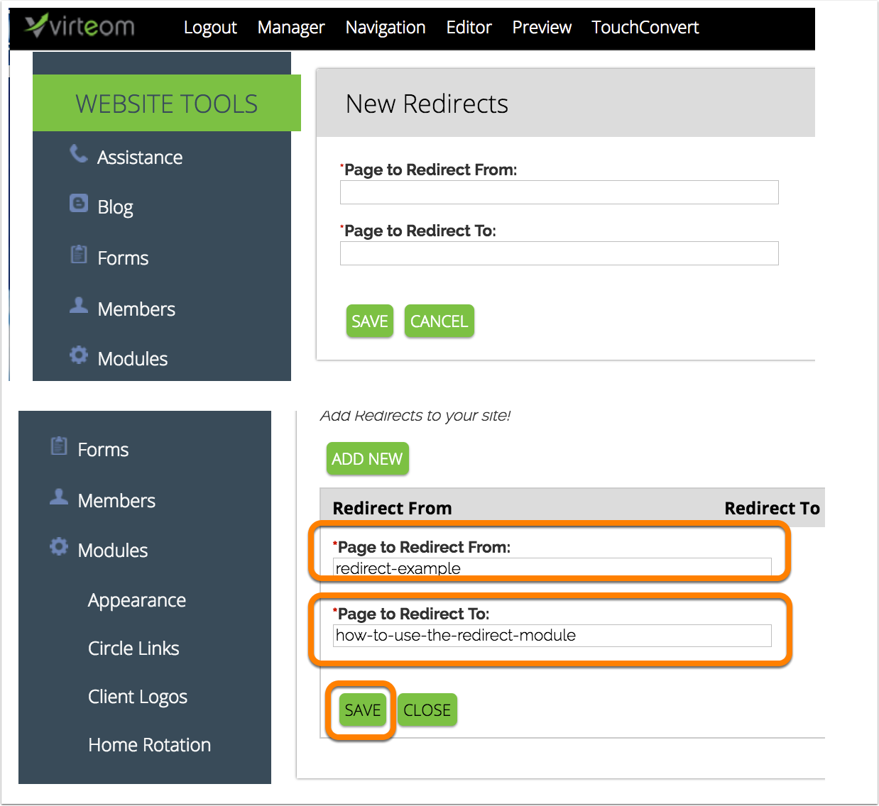 How to add a redirect in Virteom CMS