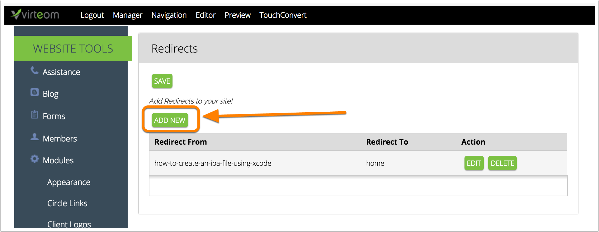 Adding a new redirect | Virteom CMS