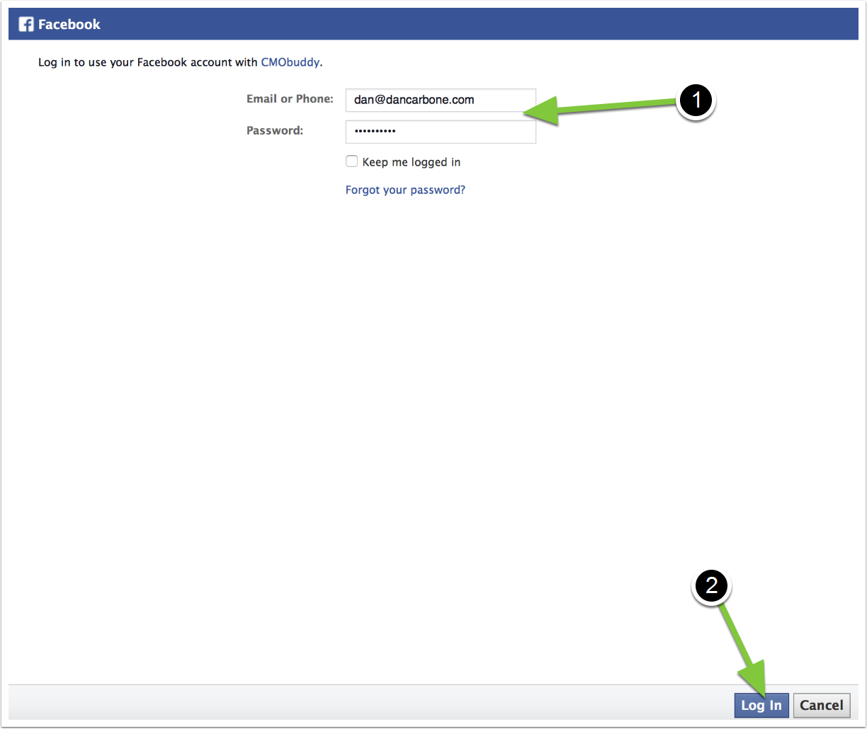 2. Login to your Facebook | TouchConvert