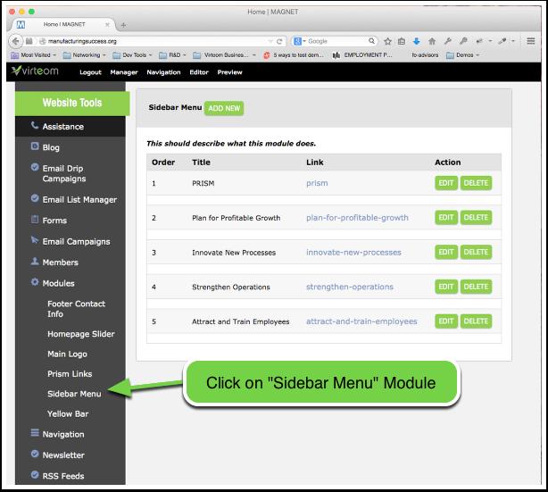 "Open the ""Sidebar Menu"" module"