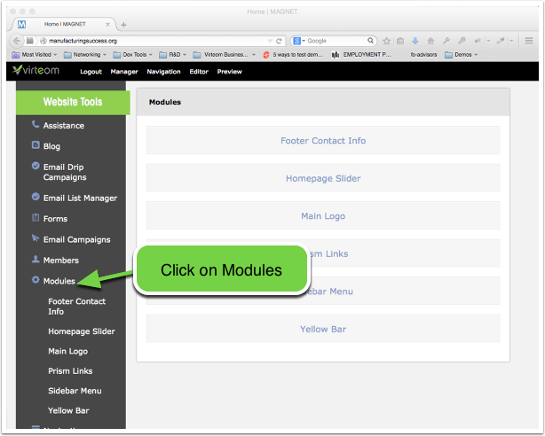 Open the Modules section of your Virteom