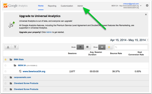 adding google analytics to virteom websites