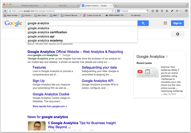 Search for Google Analytics in Google and then click on the home page.
