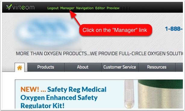 At the top of the site is a Virteom tool bar. Click on the 'Manager'