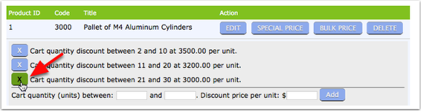You can simply remove a bulk price by click on the 'X' to the left of that price range. Adding and deleting are simple.