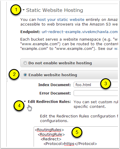 Step 3: Enable Static Website Hosting and Specify Routing Rules