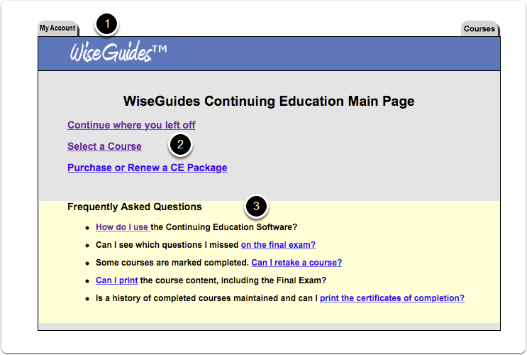 WiseGuides Continuing Education Main Page