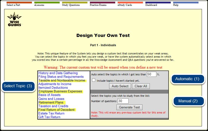 Custom Test Menu