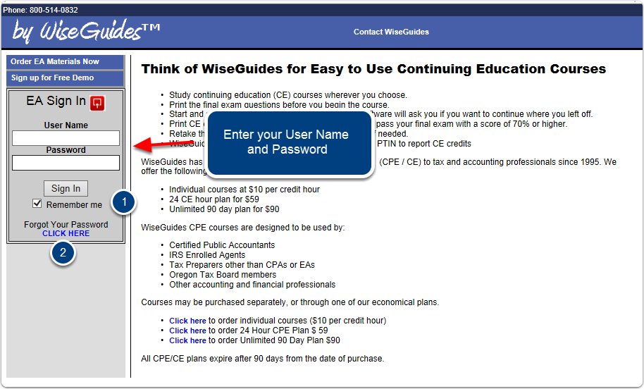 WiseGuides EA Exam study sign-in