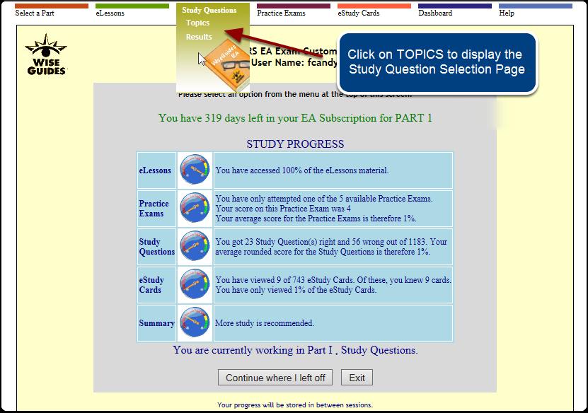 Study Questions Menu