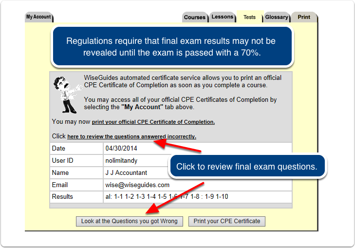 After completing the course survey the following page will appear.