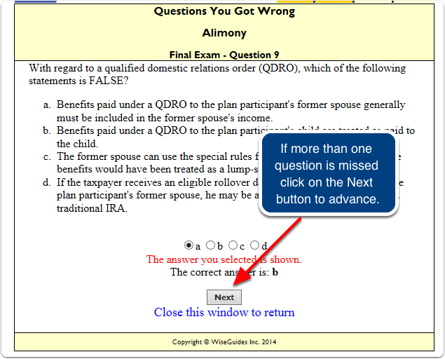 Each question missed is displayed showing the correct answer.