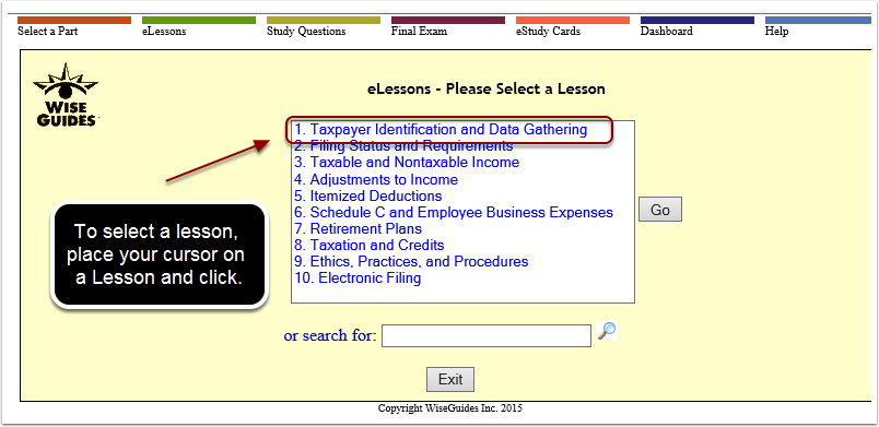 Select a Lesson from the eLessons Menu