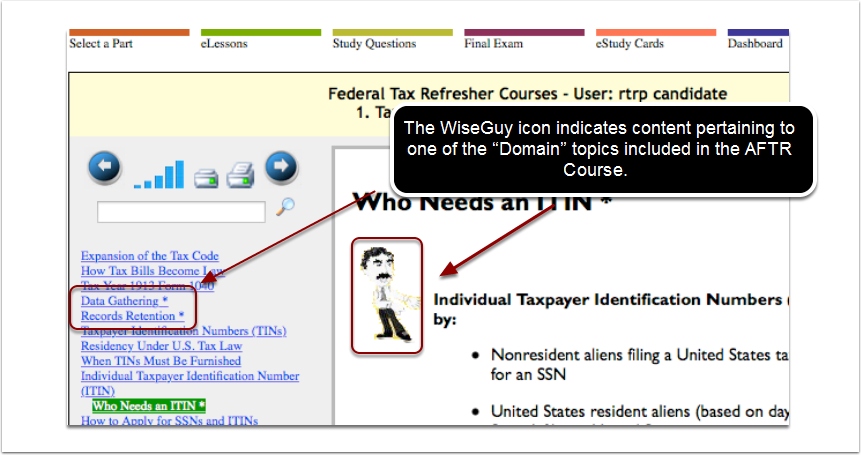 "Use the Quick Study by reading only content pertaining to IRS ""Domain"" topics"